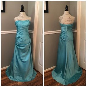 NEW BLUE SATIN STRAPLESS BALL GOWN